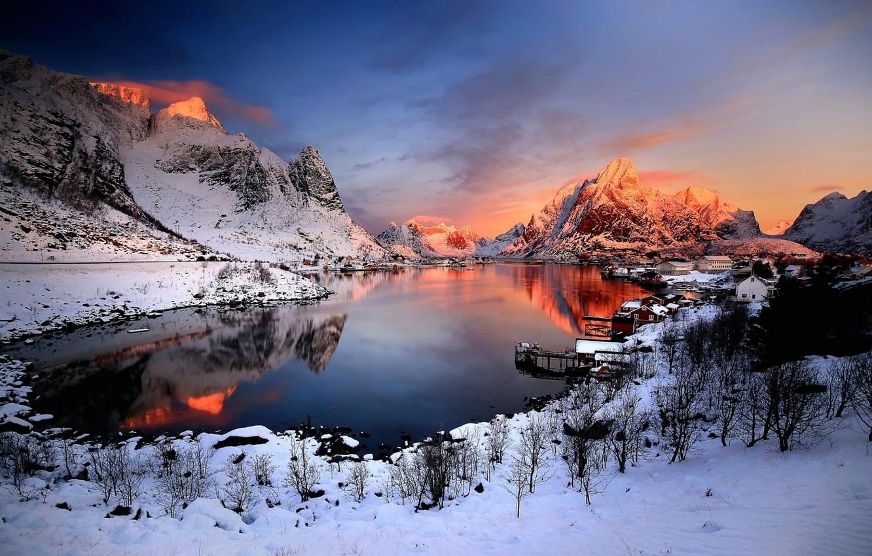 Фото обои снег, горы, озеро, зарево