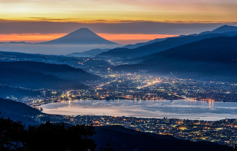 Фото обои city, lights, Japan, twilight, Mount Fuji, sky, sea, landscape, nature, sunset, blue, mountains, city lights, …