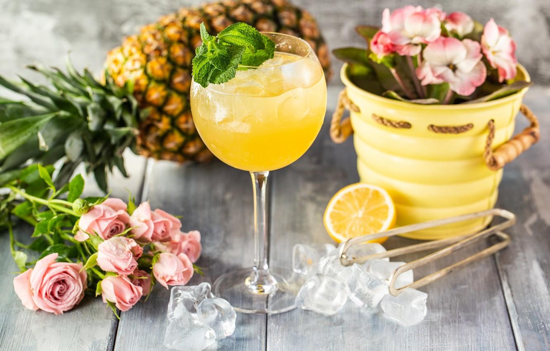 Обои Цвет, лайм, ананас, бокалы, Вишня. Разное foto 18