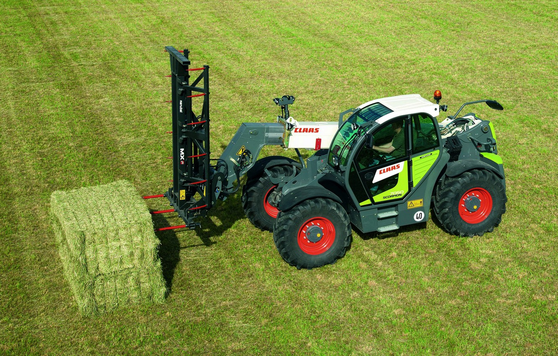 Фото обои поле, трава, Claas, телескопический погрузчик, Scorpion 7050