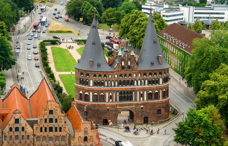 Фото обои ворота, Германия, панорама, Любек