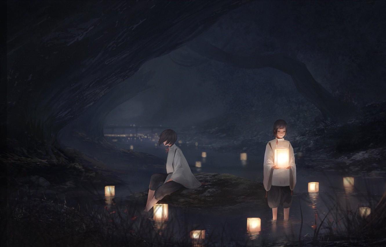 Фото обои ночь, фонари, иероглифы, речка, в воде, обряд, две девочки, жрицы