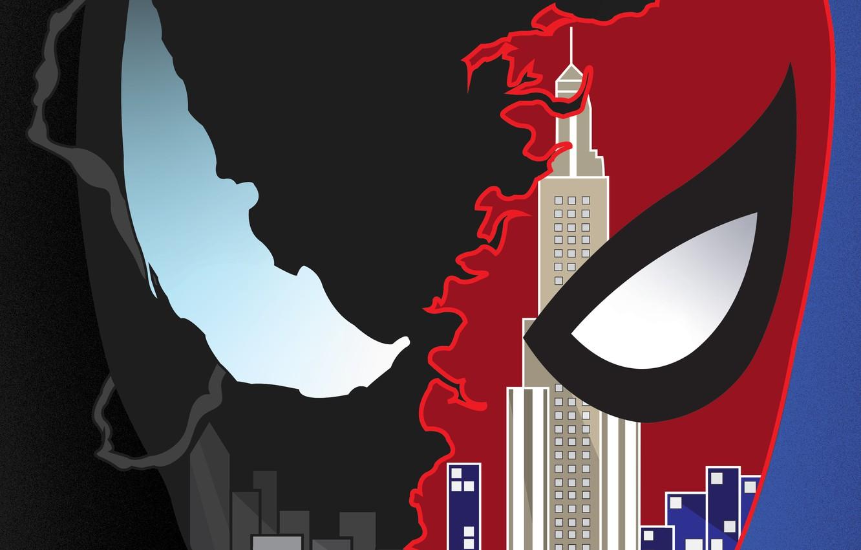 Фото обои Art, New York, Comics, Venom, Spider Man