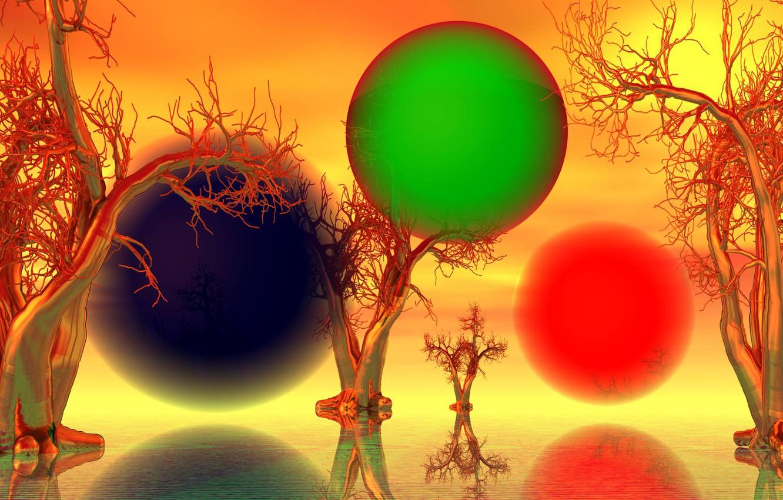 Фото обои деревья, пейзаж, шары