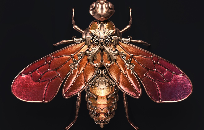 Фото обои minimalism, artist, rendering, digital art, artwork, black background, insect, bee, jewel, copper, rubies, Sasha Vinogradova
