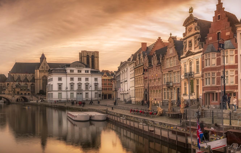 Фото обои небо, закат, мост, река, дома, вечер, канал, Бельгия, Gent