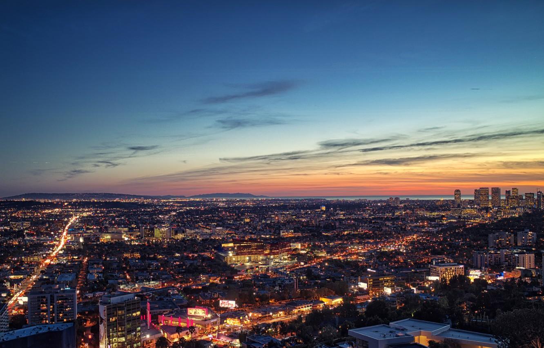 Фото обои Clouds, Sky, Sunset, Los Angeles, Dusk