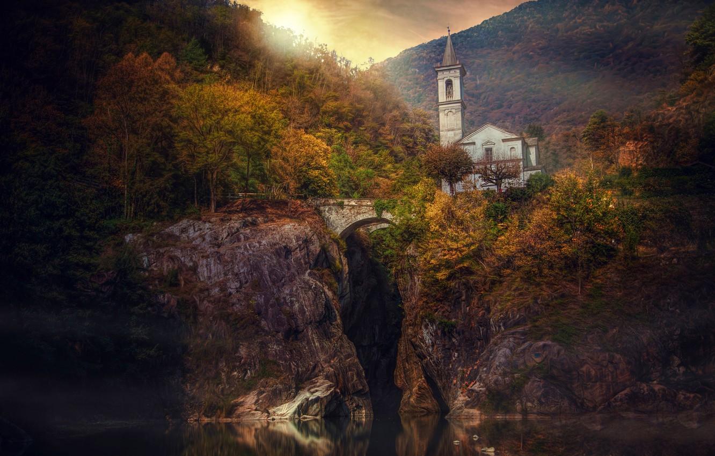 Фото обои осень, лес, мост, река, скалы, Италия, церковь, Italy, Piedmont, Пьемонт, Cannobio, Каннобио, Река Каннобино, Sant'Anna, …