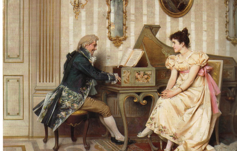 Фото обои портрет, фортепиано, мужчина и женщина, CECCHI, The serenade