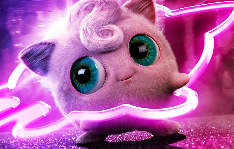 Фото обои глаза, розовый, неон, сказочный, челка, покемон, pokemon, Jigglypuff, Джиглипафф, джиглипаф, джиглипуф, джиглипуфф