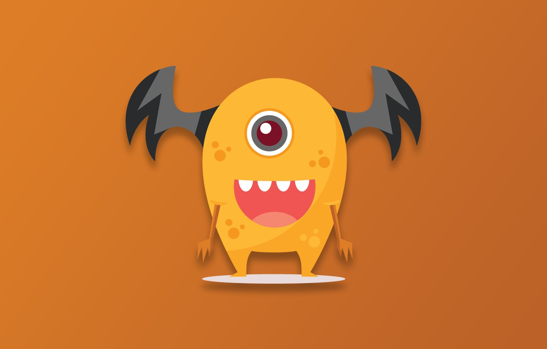 Фото обои Monster, minimalism, cartoon, funny, digital art, artwork, simple background, orange background