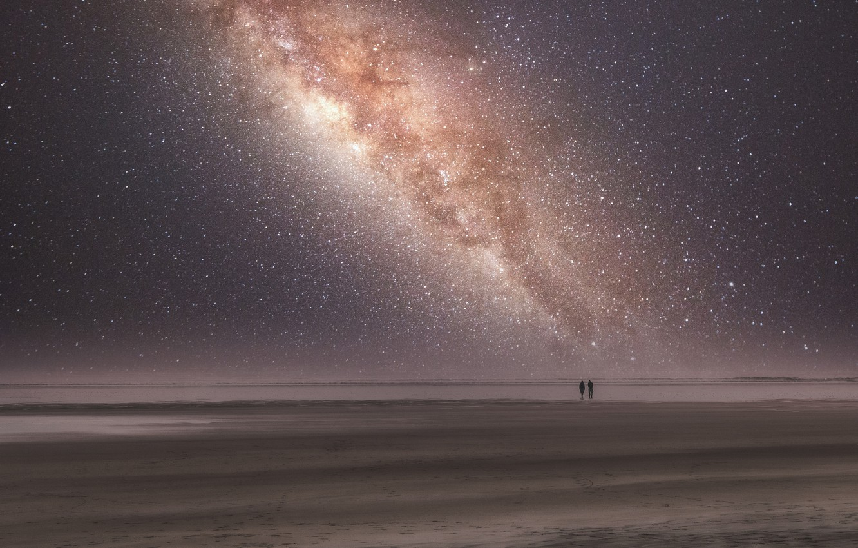 Фото обои море, пляж, звезды, Млечный путь, двое, beach, sea, stars, two, Milky way, Stéphane Pecqueux