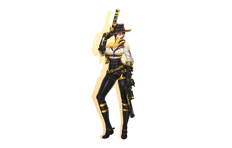 Фото обои Girl, Gun, Busty, Sexy, Art, Revolver, Weapon, Minimalism, Characters, Pistols, Cowboy, Ren Wei Pan, Gila …