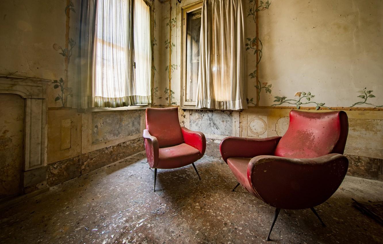 Фото обои комната, кресло, окно, натурализм
