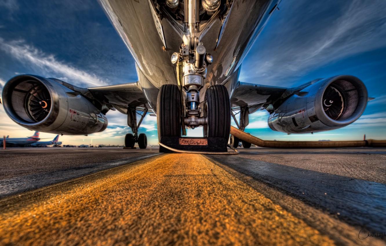 Фото обои аэропорт, самолёт, шаси