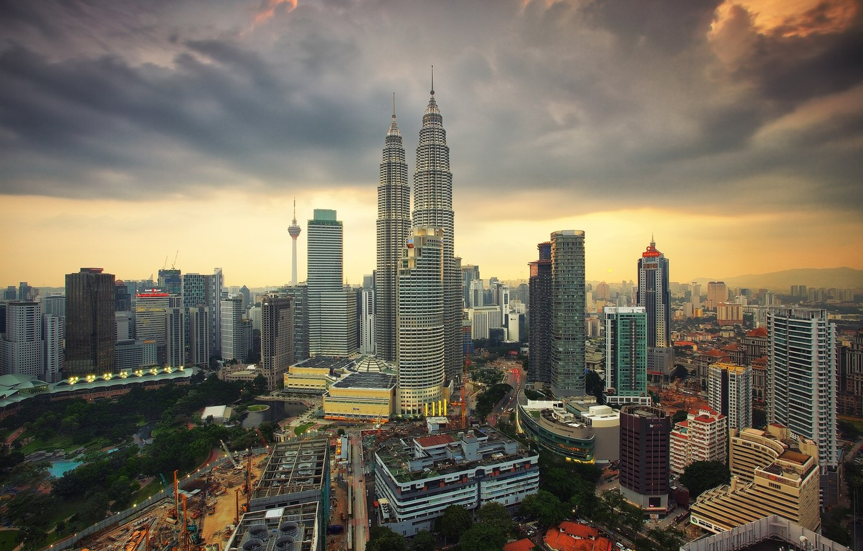 Фото обои небо, пейзаж, город, рассвет, утро, Малайзия, Куала-Лумпур