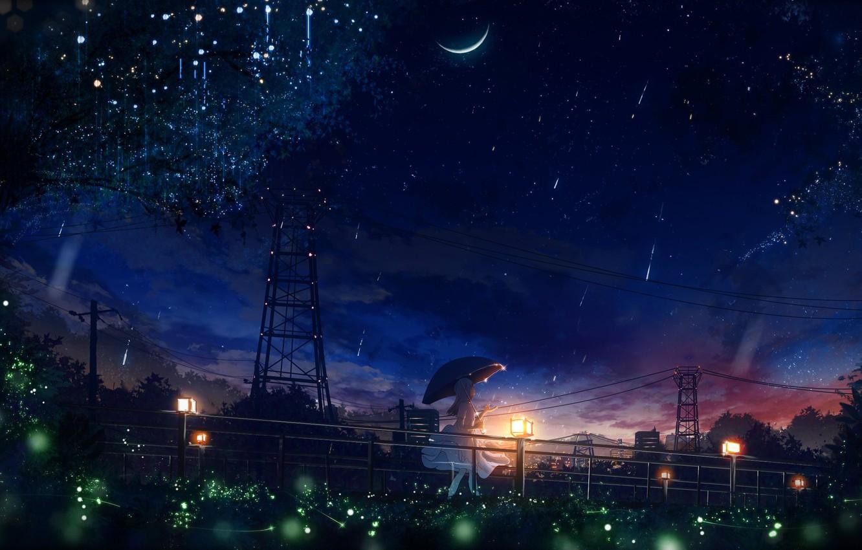 Фото обои светлячки, провода, ЛЭП, фонари, девочка, прогулка, новолуние, звездное небо, звездопад, под зонтом, летняя ночь
