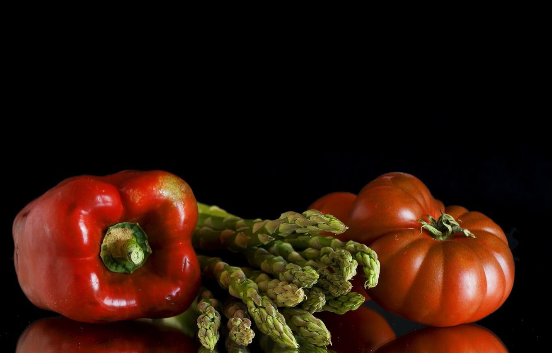 Фото обои перец, овощи, помидор, спаржа, перец болгарский