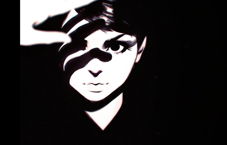 Фото обои взгляд, лицо, рука, тень, контраст, чёлка, портрет девушки, Илья Кувшинов, черно- белый