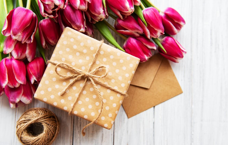 Фото обои подарок, букет, тюльпаны, конверт, Olena Rudo