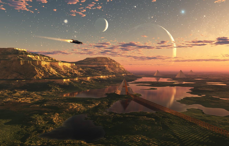 Фото обои свобода, облака, полет, пространство, будущее, планеты, красота, озера, future, space, другие миры, flight, freedom, clouds, …