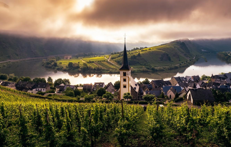 Фото обои church, Misty Morning, mosel, trier, weinberg