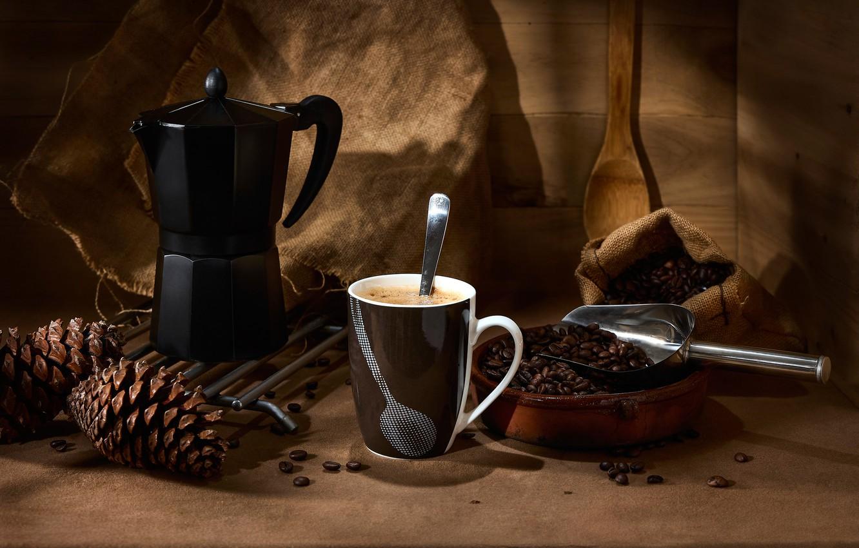 Фото обои стиль, кофе, кружка, натюрморт, шишки, кофейные зёрна, кофеварка, совок