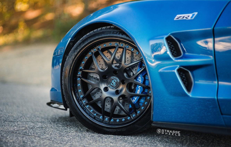 Фото обои ZR1, Car, Blue, Wheel, Strasse Wheels, Rim, Disk