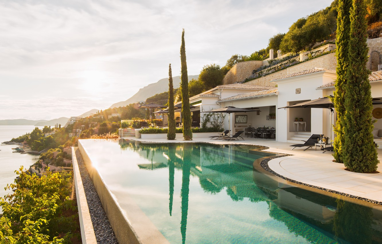 Фото обои дом, вилла, вид, house, греция, villa, greece, corfu, aura, agni, корфу, kaminaki
