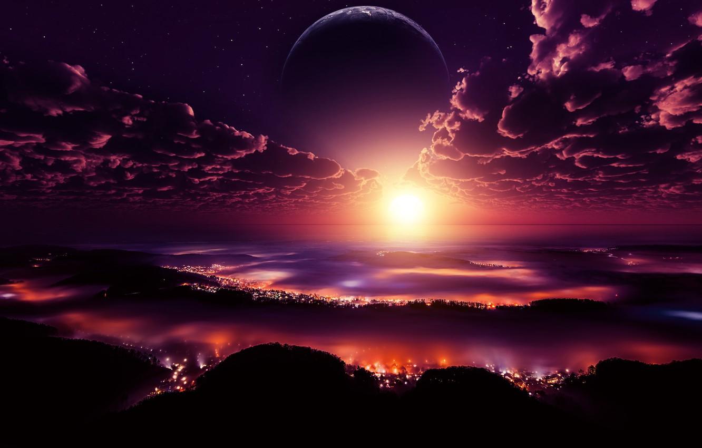 Фото обои city, lights, space, sky, digital, landscape, sunset, clouds, stars, planet