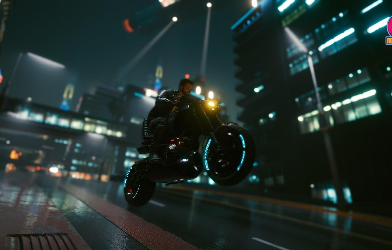 Фото обои ночь, Город, мотоцикл, киберпанк, Cyberpunk 2077, Cyberpunk, киберпанк 2077
