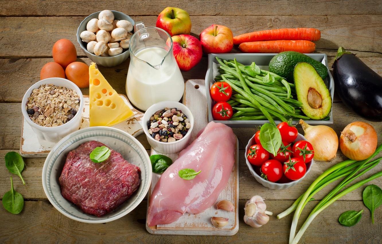Фото обои мясо, фрукты, овощи