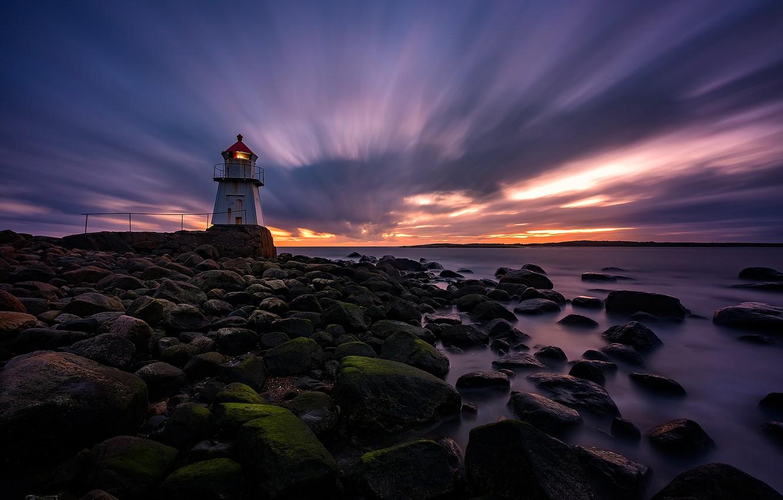 Фото обои закат, побережье, маяк, вечер, Норвегия