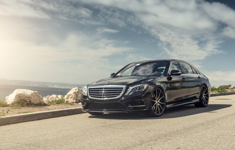 Фото обои Mercedes, Coast, AMG, Black, Sea, W222, S63
