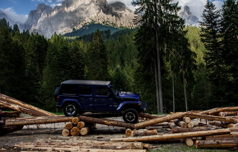 Фото обои синий, внедорожник, 4x4, Jeep, хвойный лес, 2019, Wrangler Unlimited 1941 Sahara
