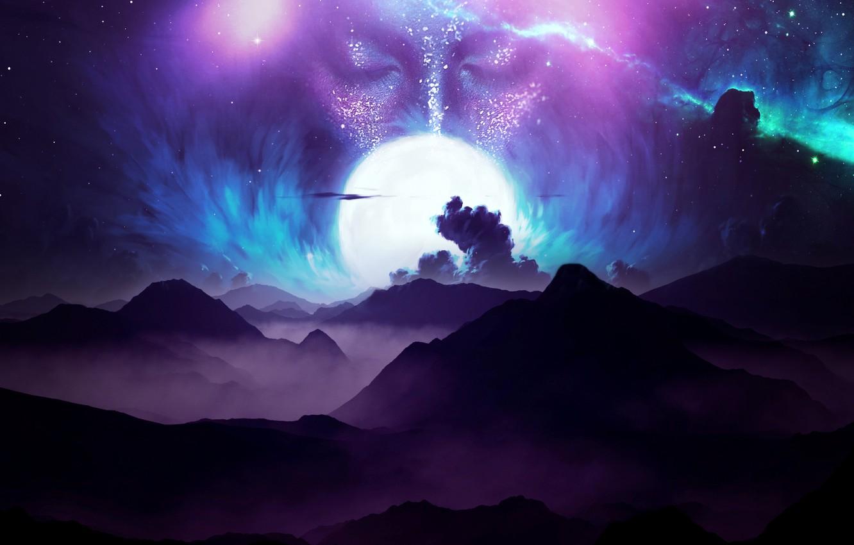 Фото обои moon, sky, digital, landscape, mountains, clouds, stars, face, galaxy
