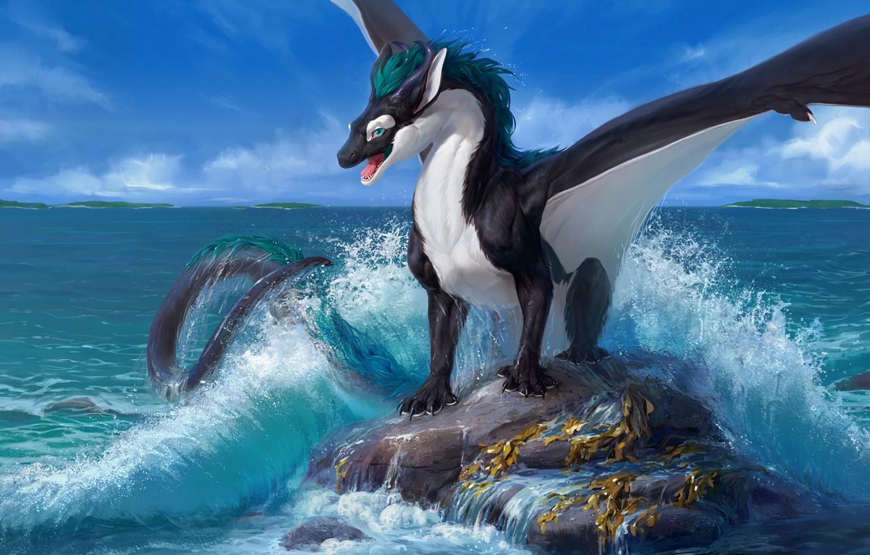 Фото обои скала, океан, дракон