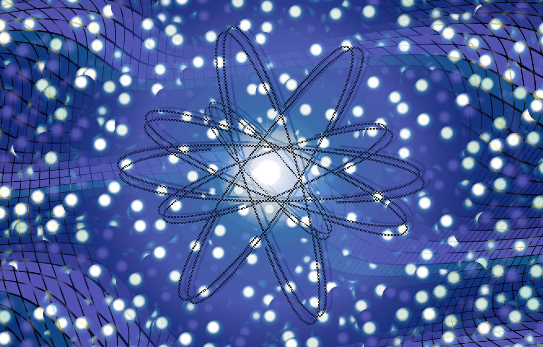 Фото обои волны, частицы, атом