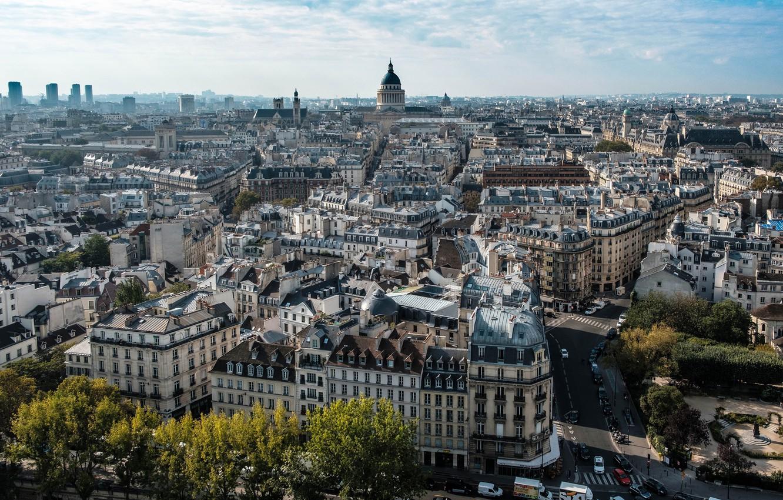 Фото обои дорога, небо, солнце, облака, деревья, машины, Франция, Париж, дома, Paris, вид сверху, улицы, France