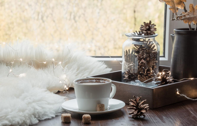 Фото обои осень, кофе, окно, чашка, мех