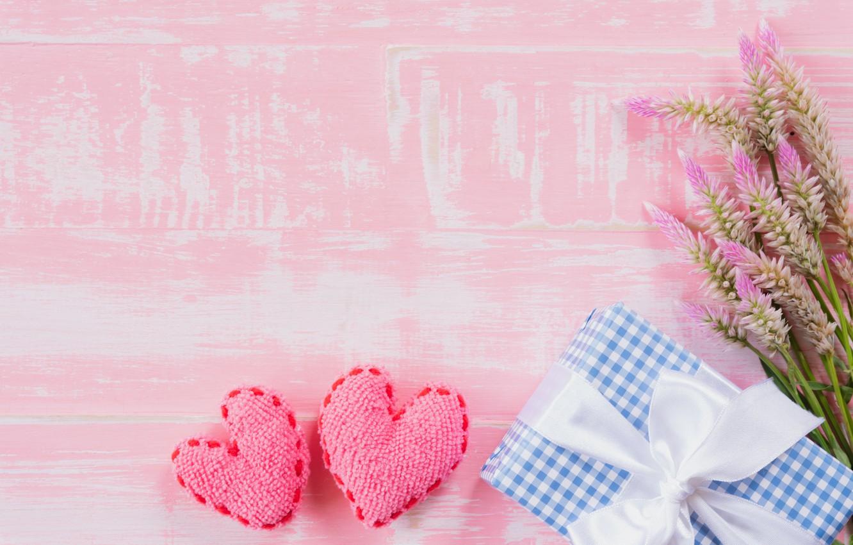 Фото обои любовь, цветы, подарок, сердце, love, wood, pink, flowers, romantic, hearts, gift, valentine