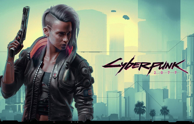 Фото обои девушка, пистолет, Cyberpunk 2077, Киберпанк 2077