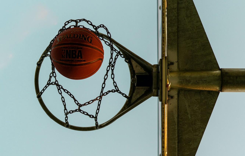 Фото обои мяч, кольцо, баскетбол