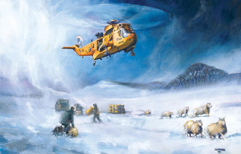 Фото обои снег, рисунок, вертолет, спасатели, RAF, Sea King, Westland