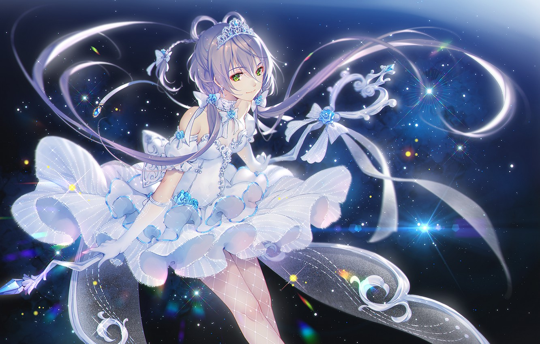 Фото обои девушка, магия, корона, белое платье, Vocaloid, звездочки, Luo Tianyi, TID