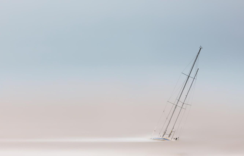 Фото обои Clouds, Yacht, Sea, Boat, Estuary