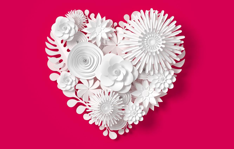 Фото обои цветы, рендеринг, узор, сердце, love, white, heart, flowers, композиция, rendering, paper, composition, floral