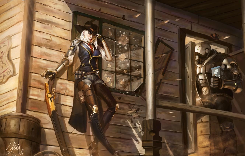 Фото обои девушка, робот, шляпа, ружье, перестрелка, ashe, bob, overwatch, elizabeth caledonia