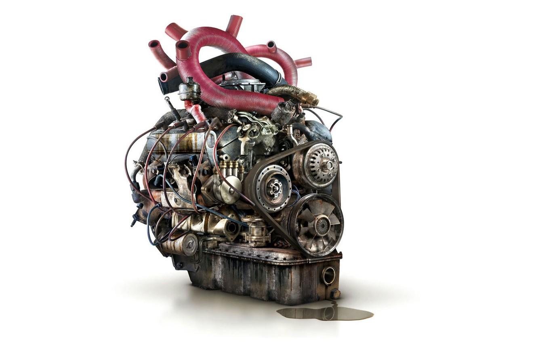 Фото обои провода, сердце, механизм, лужа, шестеренки, агрегат, железное