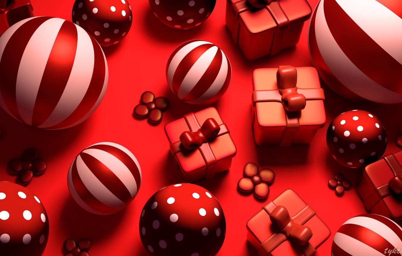 Фото обои рендеринг, праздник, красное, игрушка, новый год, арт, Tzuyu Kao, Red gifts